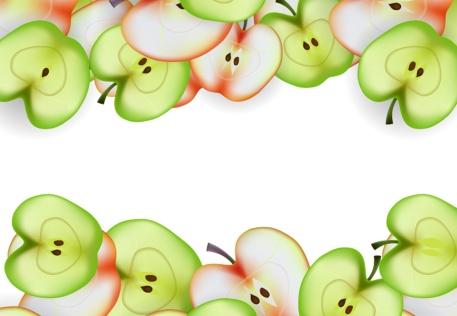 Apple slice healthy food background vector 02
